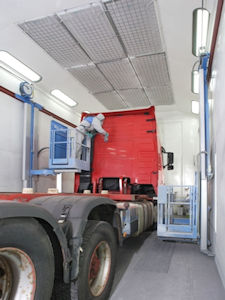Painting Behind Lorry Cab